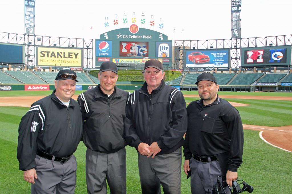 2015 US Cellular Field Crew. Nazareth Academy vs. Maine South. L/R: Kevin LeFevre, Craig Davelis, Bernie Carrol, Dean Karousos
